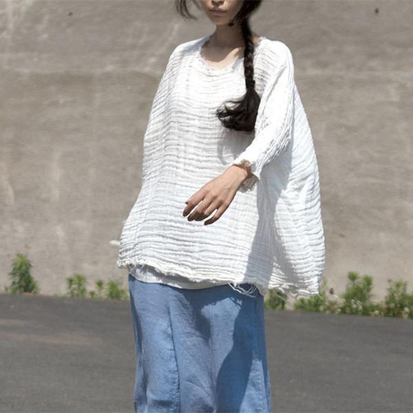 Original Primavera Verano Algodón Lino Mujeres Pullover Mujer O-cuello Blanco Breve Blusa Artística Tops sueltos Blusas Tallas grandes C19041201