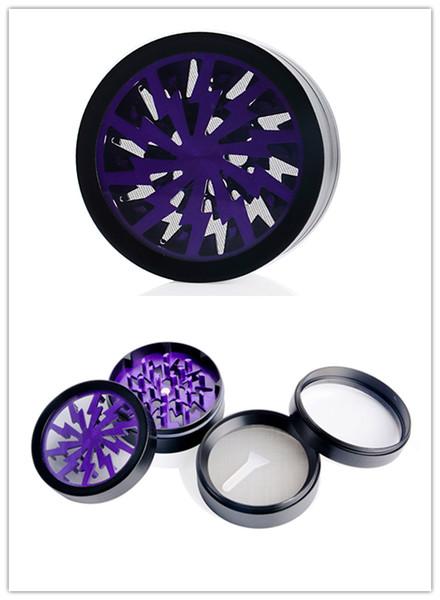 Luz intermitente Lightning Purple 4 capas Flashing Metal molinillo de fumar Vidrio Agua de tabaco Mini molinillo de fumar para molino de tabaco envío gratis