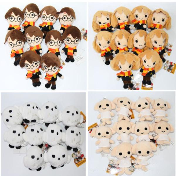 cute Q Version Harri Potter Hermione Dobby Owl Plush Stuffed Toys Keychain Girls Gift Harri Potter Doll Pendant Decor Unpack