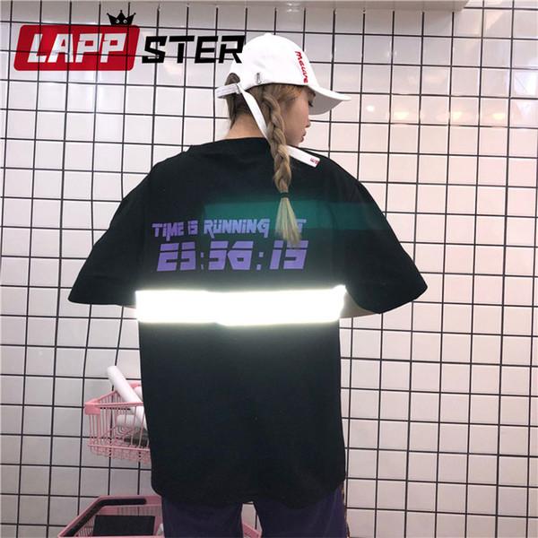 LAPPSTER Reflective Harajuku T Shirt Streetwear 2019 Summer Women Korean Fashion TShirts Couple Black Funny Japanese Tops 90s