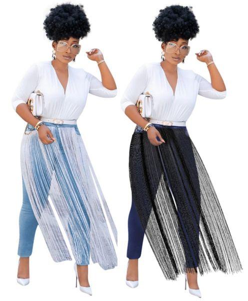 Women Designer Tassel Jeans Plus Size Washed Denim Pants S-2XL Sexy Bodycon Capris Pencil Pants Fall Winter Clothing 1374