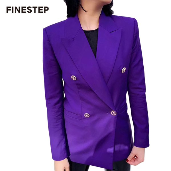 Doble botonadura de las señoras Blazer otoño Blazer de manga larga púrpura para mujeres Slim blazers mujer 2019 nuevo traje de abrigo para mujeres