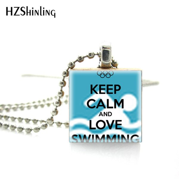 New Fashion Jewelry Keep Calm and Love Swimming Scrabble Art Pendant Swim  Lover Quote Wooden Scrabble Tiles Necklace