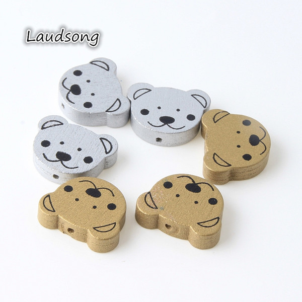 20Pcs Silver & Gold Colors Cartoon Bear Shape 25*19mm Lead free Wooden Beads Accessories Wood Beads Kids Jewelry Making 20Pcs Silver &