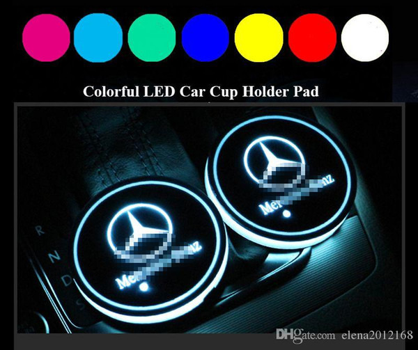 2pcs LED Car Cup Holder Lights for Mercedes-Benz, 7 Colors Changing USB Charging Mat Luminescent Cup Pad, LED Interior Atmosphere Lamp