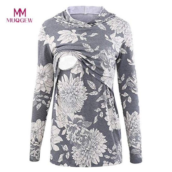 Shirt Nursing Tops For Pregnant Women Women's Nursing Hoodie Long Sleeves Casual Top Breastfeeding Clothes Blouse Lactation