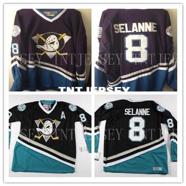 Cheap custom New Vintage ANAHEIM MIGHTY DUCKS Teemu Selanne #8 Hockey Jerseys Mens Personalized stitching jerseys