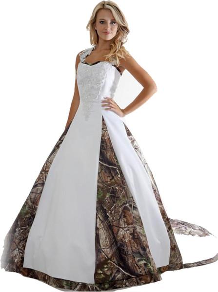 2019 Unique Camo Wedding Dresses With Appliques Long Camouflage Wedding Party Dress Plus Size Bridal Gowns Court Train