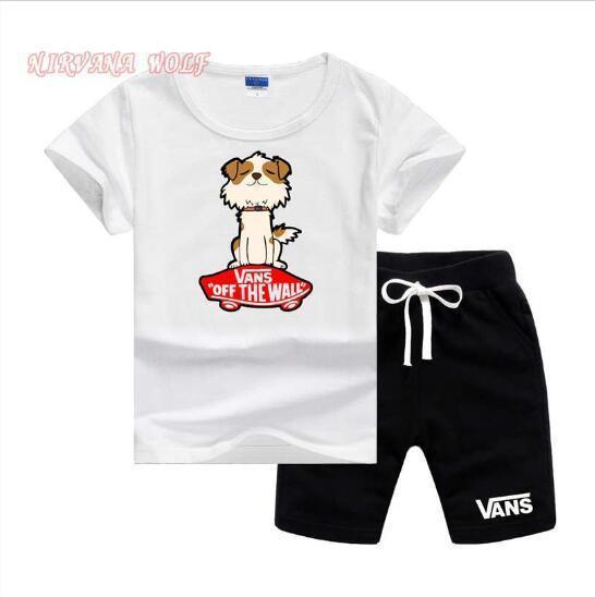 VS Designer De Luxe Enfants Vêtements D'été 2 PCS Set Enfant En Bas Âge Enfant Bébé Garçon Imprimer VansLogo T-shirt + Shorts Pantalon Tenues Vêtements à Manches Courtes 2-7T