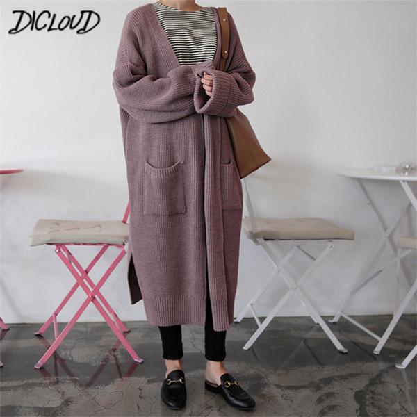 Dicloud Moda Cárdigan largo Mujer 2019 Moda Harajuku Suéter de punto suelto Mujer Casual Negro Chaqueta de gran tamaño Abrigo Otoño T190830