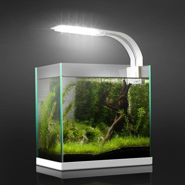 Plantas 5W / 10W / 15W LED Super Slim luz del acuario de la iluminación acuática Grow Light Plant impermeable de la iluminación de la lámpara con clip para Fish Tank