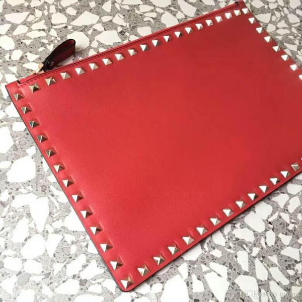 new genuine leather high fashion hand bag changes card lipstick clutch ipad bag rivet clutch bag envelope pack party flat big size 30cm