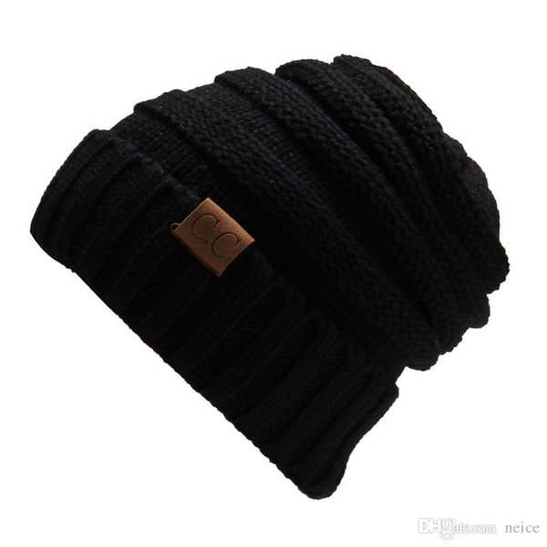 2017 Unisex CC Trendy Hats Winter Knitted Beanie Label Winter Knitted Wool Cap Unisex Folds Casual CC Beanies Hat Solid Hat