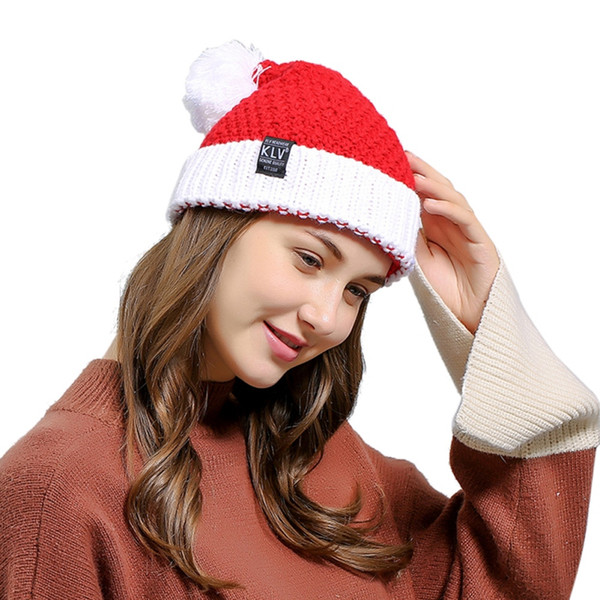 Cotton Knitted Warm Hats Winter Thicked Women Top Quality Christmas Caps Santa Claus Hat Ball H6
