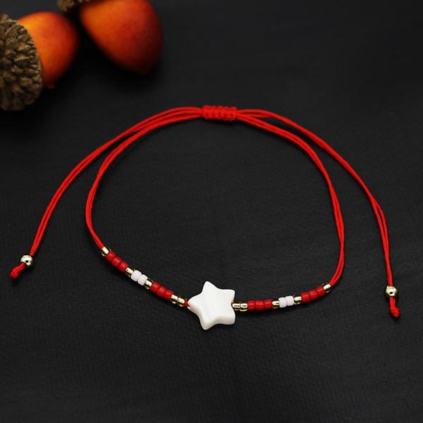 Contas de arroz shell charme pulseira das senhoras crianças estrelas sorte amizade bênção corda vermelha presente da jóia nó nó ajustável homens