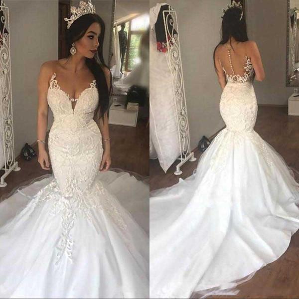 Cuello escarpado sirena vestidos de novia sexy sin barrido longitud árabe vestido de novia de encaje a medida vestido De Novia