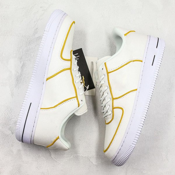 Fashion Forced 1 Low Canvas Skateboard Shoes Men Women Cream White Yellow Outdoor Trainer Sneakers With Box