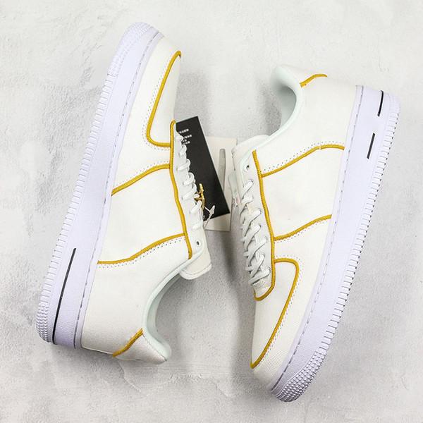 Moda Zorla 1 Düşük Tuval Kaykay Ayakkabı Erkekler Kadınlar Krem Kutusu Ile Beyaz Sarı Açık Trainer Sneakers