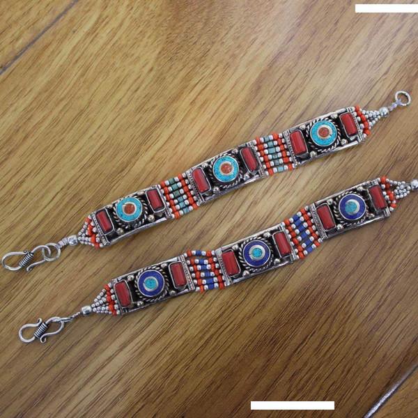 BR045 Bracelet Tibétain Bracelets pour les femmes en cuivre incrusté coloré fermoir pierre Bracelet Népal Inde Bijoux