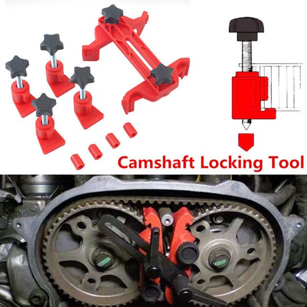 5 pezzi Universal Cam Camshaft Lock Holder Car Engine Cam Timing Lock Tool Set Set di attrezzi per smontaggio cinghia dentata Automotive Kit auto