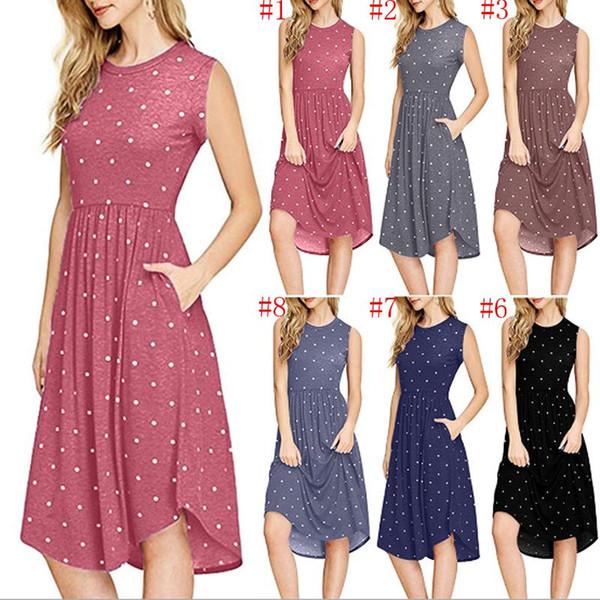 Die Kleidung der neuen Frauen plus Größenkleider Sleeveless Sommermädchenkleider Wellenpunkt-Kleid 8 färbt Retro Strand-Kleid geben Schiff frei