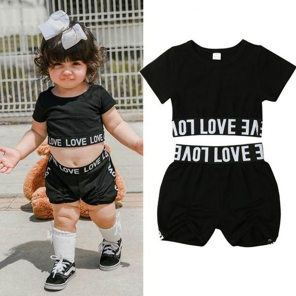 2019 nova criança kid baby girl roupas set verão casual treino de manga curta camiseta bermuda calça preta crianças roupas de bebê