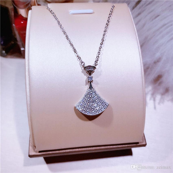 Real S925 sterling silver micro-studded fan-shaped skirt skirt necklace fashion wild clavicle chain women Free shipping