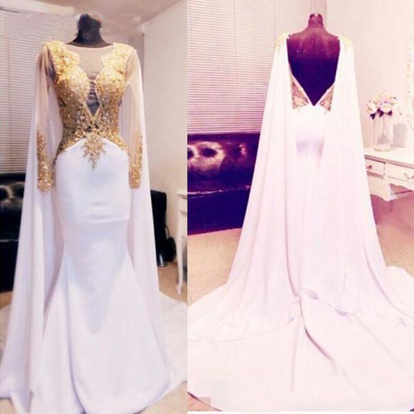Elegantes vestidos de noche de Caftan Dubai con apliques de oro Vestidos formales de gasa sin espalda sexy Vestidos de mujer en Turquía 2019 Vestidos de noche árabes