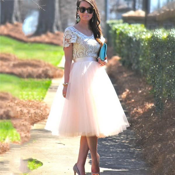 5 Camadas Midi Uma Linha Tutu Saia De Tule De Cintura Alta Plissada Skater Saias Womens Vintage Lolita Vestido De Baile Verão 2018 saias jupe