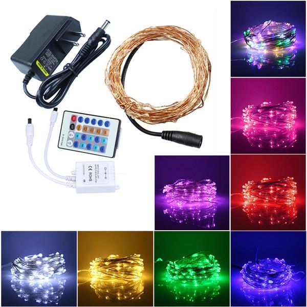 10M 100LED String Lights Filo di rame Telecomando LED Starry Lights Luci di Natale Fata AC100-240V Adapter + DC5-24V Transformer