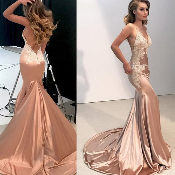 2019 Champagne Prom Dresses Backless Spaghetti Straps Mermaid V-neck Sexy Special Occasion Evening Party Gowns Robe De Soiree High Quality