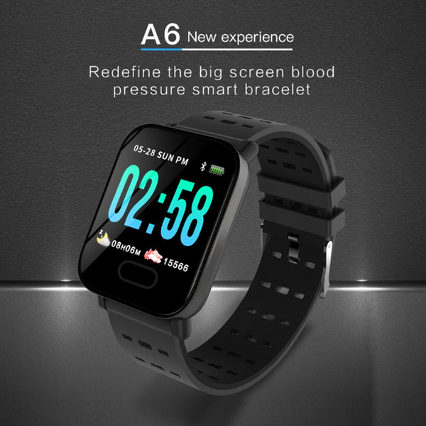 Nuovo Smart Watch A6 Wristband Touch Screen a colori IP67 Smartwatch Smartwatch Smartwatch a frequenza cardiaca Monitor intelligente per iPhone Android