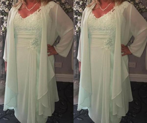Menta Verde V Neck Curto Mãe dos Vestidos de Noiva com o Envoltório Plus Size Casual Chiffon Lace Chá Comprimento verão boho Vestidos de Noite