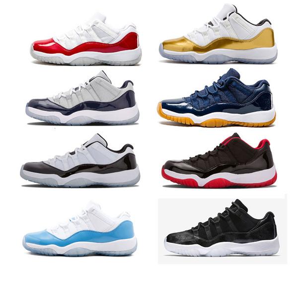 Дешевые 11 мужчин Баскетбол обувь университетский синий Navy Gum Blue металлик Золото Varsity красный конкорд легенда гамма-синий 72-10 кроссовок