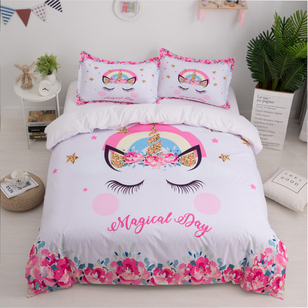 Unicorn 3D Bed Set Cute Cartoon Duvet Cover Pillowcase Twin Queen King Size  Kids Girls Bedroom Bed Cover Home Textile Quilt Covers Toddler Bedding ...