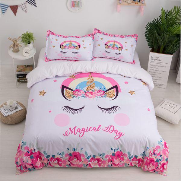 Unicorn 3d Bed Set Cute Cartoon Duvet Cover Pillowcase Twin Queen