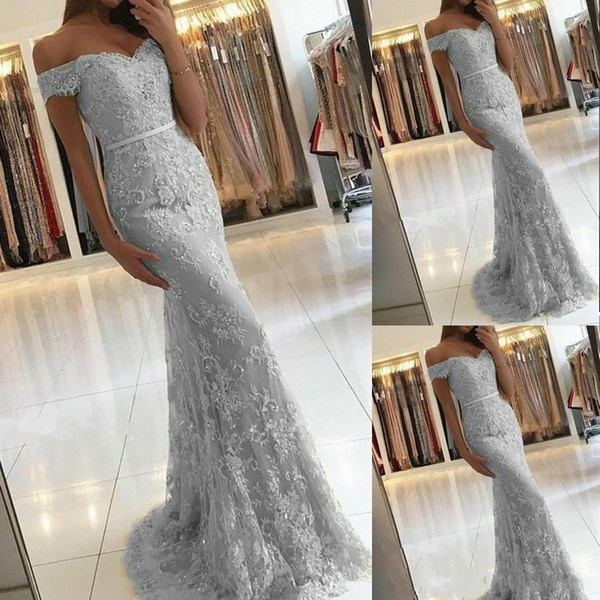2020 New Sexy Arabic Silver Mermaid Evening Dresses Off Shoulder Full Lace Appliques Beaded Sash Sweep Train Plus Size Prom Party Gowns