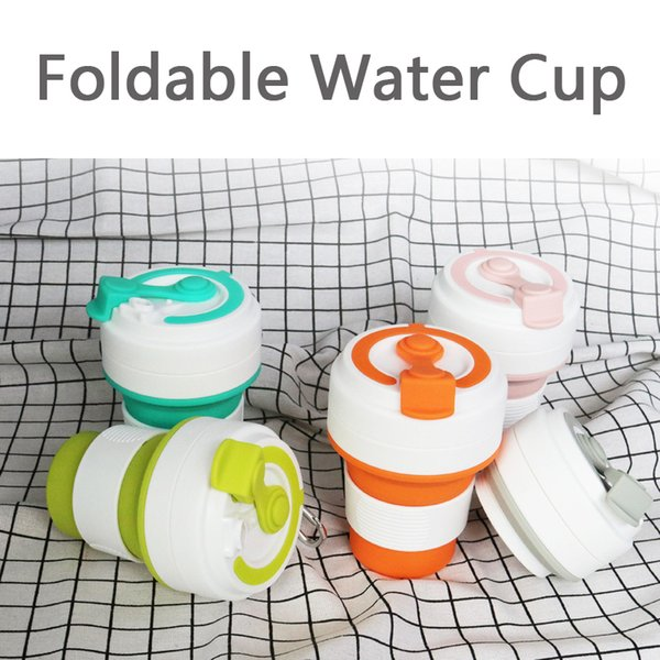 New Folding Silicone Cups Portable Silicone Telescopic Drinking Collapsible Coffee Cup Multi-function Folding Silica Cup VT0183