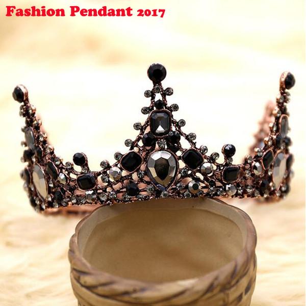 Черная корона свадебная тиара оголовье стразы свадебные аксессуары для волос старинные короны невесты диадема театрализованные представления глава барокко украшения для волос