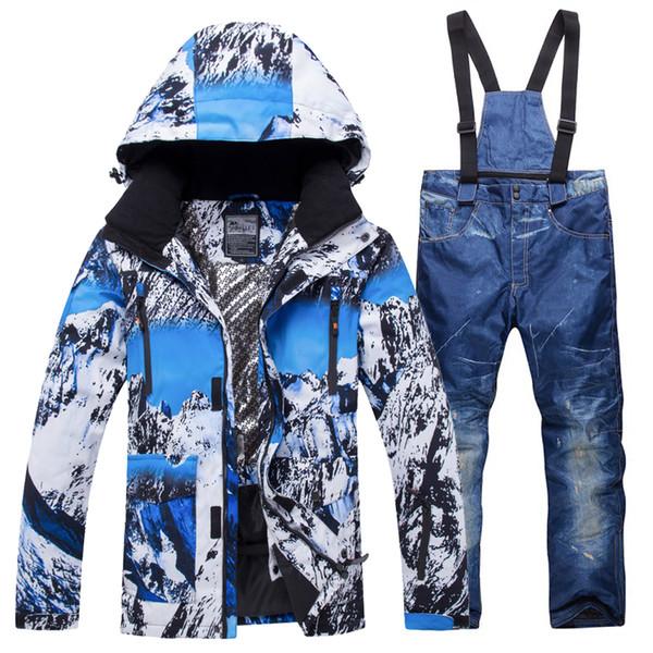New Winter Ski Suit Men Set Windproof Waterproof Warm Skiing Snowboarding Suits Set Male Outdoor Hot Ski jacket + Pants