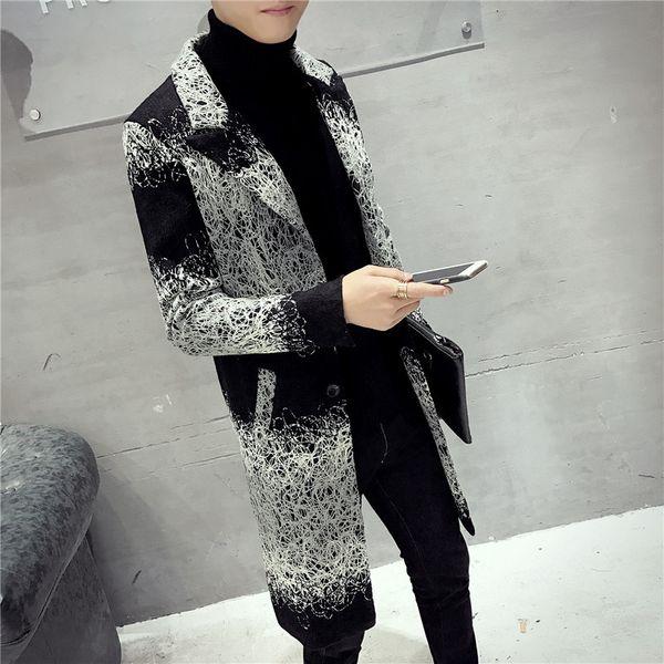 Casual Hommes Manteaux d'hiver 2018 Patchwork Manteau en laine Blend et veste simple boutonnage Homme Manteaux