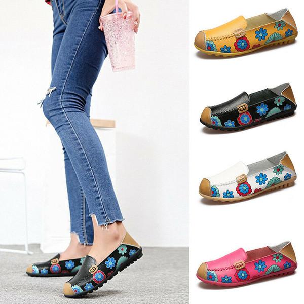 Doug Chaussures Mocassins Plates Infirmières Mère Chaussures Imprimées Plus La Taille Chaussures Douces Flats D'été Casual Chaussures En Cuir Chaussure Sandales MMA1819