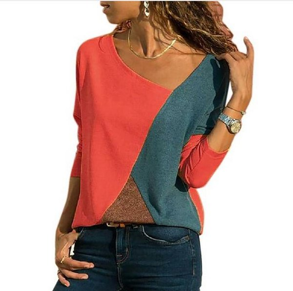 Women's Long Sleeved T-shirts Patchwork Woman Tops Spring Autumn Female Clothing O Neck Ladies Casual Clothes Plus Size 5XL
