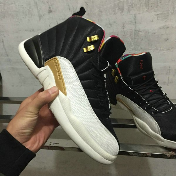 wholesale 12 CNY XII 2019 Chinese New Year Black Gold Red men basketball shoes high quality XII 12s black white red gold sneakers