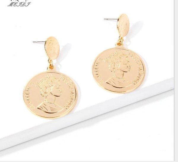 top popular Fashion Trendy Earrings Fashionable Temperament with Personal Face, Circular Coin Earrings and Earrings 2019