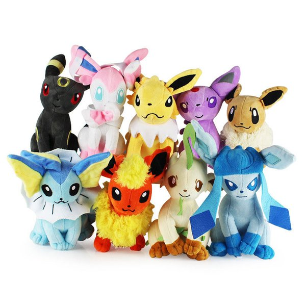top popular 20cm   8inch Plush Toys Stuffed Dolls Umbreon Eevee Toys Espeon Jolteon Vaporeon Flareon Glaceon Animals Stuffed Dolls 2020
