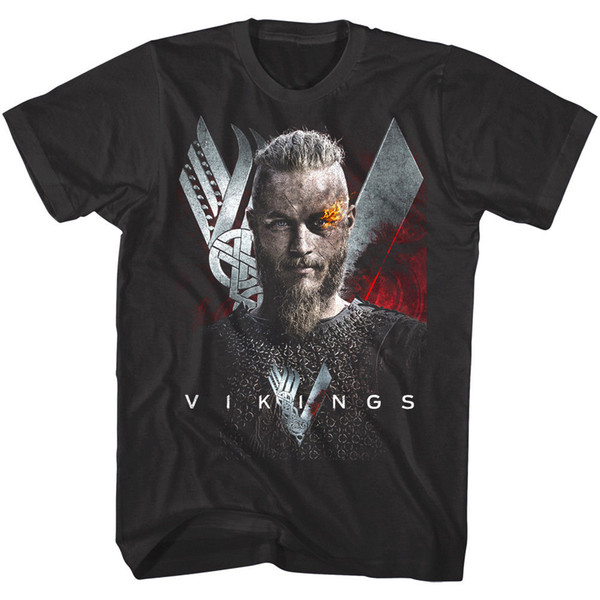 OFFICIAL Vikings TV Show Ragnar Flaming Eyebrow Men's T-Shirt Funny free shipping Unisex Casual