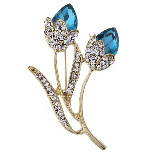2019 Elegante spilla a forma di fiore con spilla a forma di fiore Pin Accessori per gioielli in cristallo Accessori per spille Gioielli per matrimonio