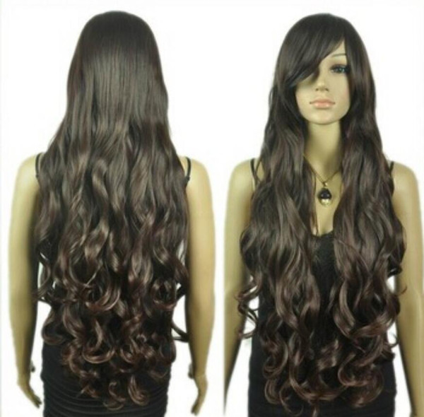 WIG free shipping vogue super long curly layered women brown cosplay wig + Hairnet