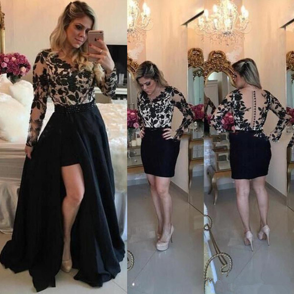Sexy See Through Prom Dresses With Detachable Skirt Black 2019 Long Sleeves Lace Applique Barbara Melo Slit Evening Gowns Party Dress